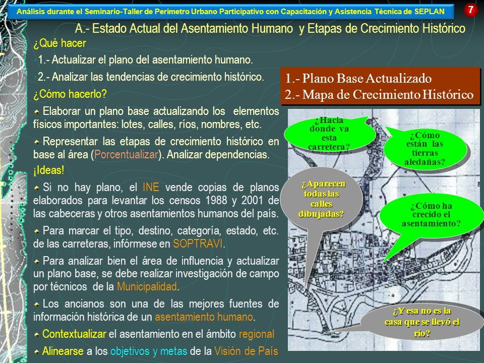 1.- Plano Base Actualizado 2.- Mapa de Crecimiento Histórico