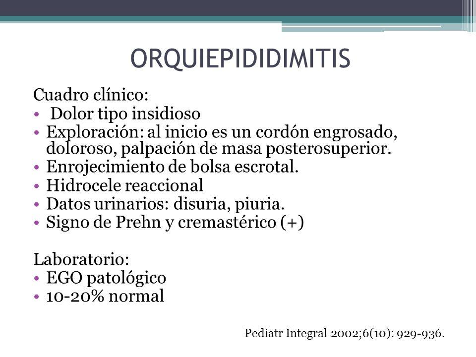 ORQUIEPIDIDIMITIS Cuadro clínico: Dolor tipo insidioso
