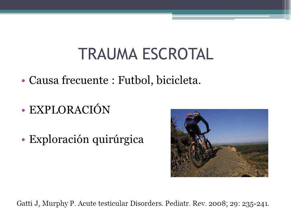 TRAUMA ESCROTAL Causa frecuente : Futbol, bicicleta. EXPLORACIÓN