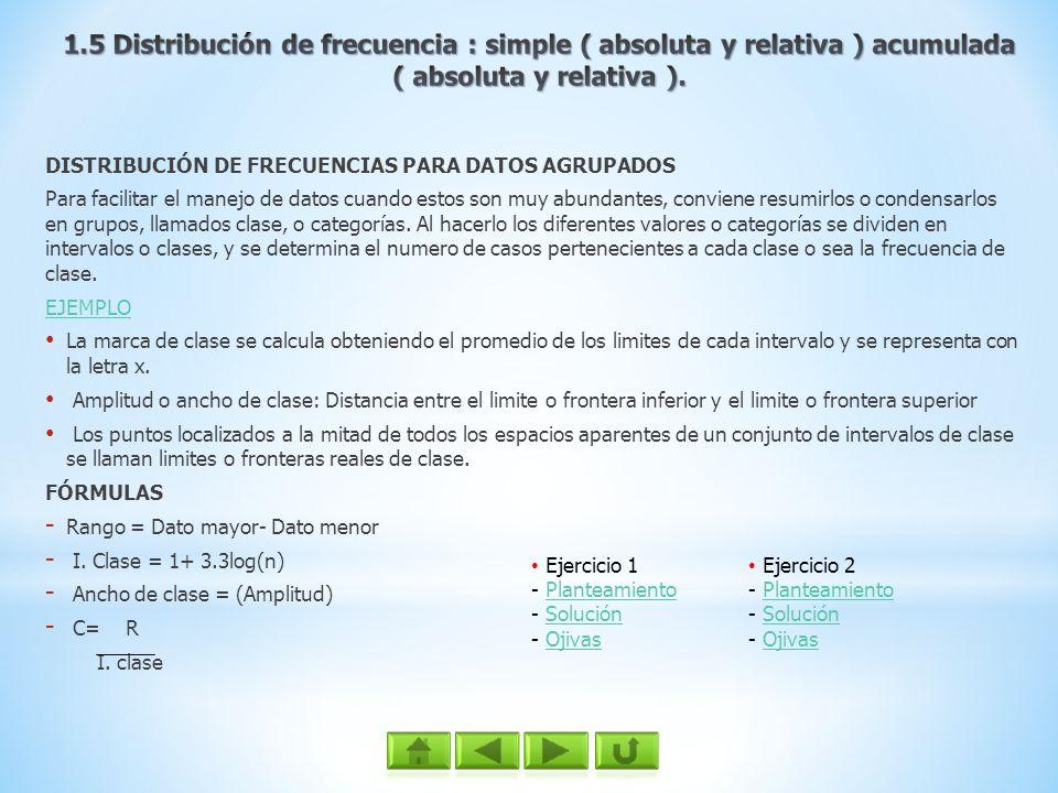 1.5 Distribución de frecuencia : simple ( absoluta y relativa ) acumulada ( absoluta y relativa ).