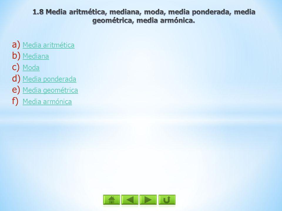 1.8 Media aritmética, mediana, moda, media ponderada, media geométrica, media armónica.
