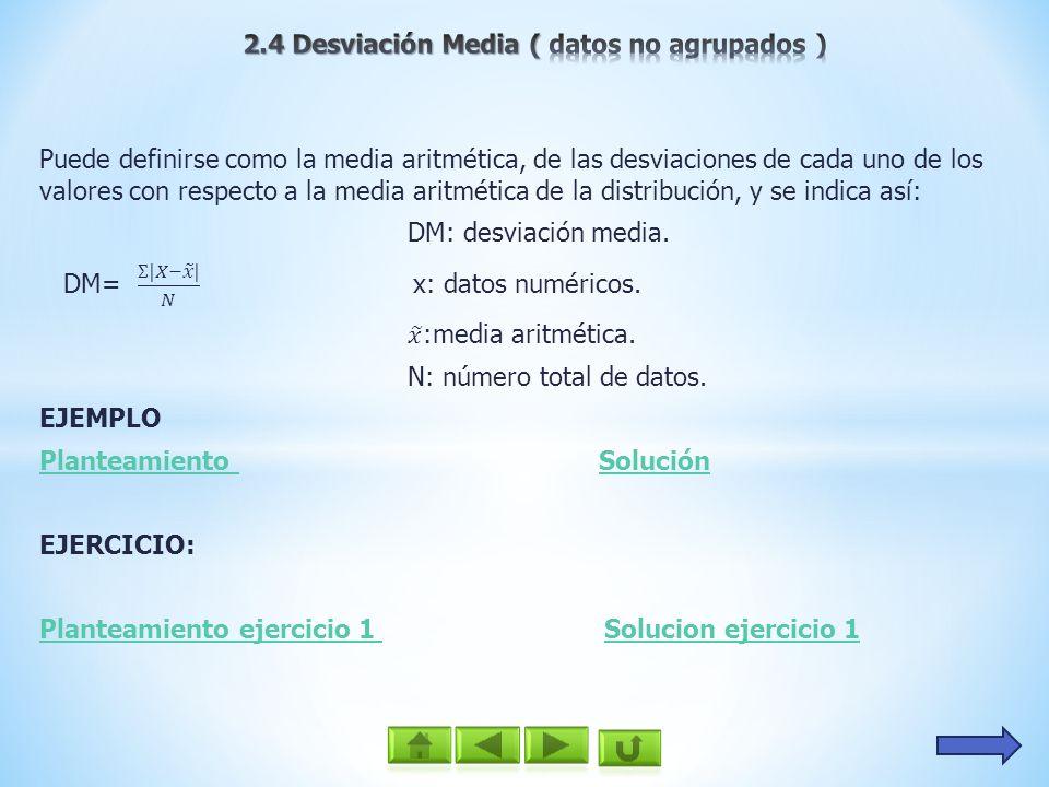 2.4 Desviación Media ( datos no agrupados )
