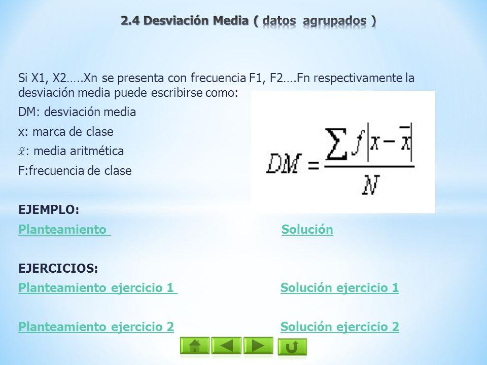 2.4 Desviación Media ( datos agrupados )
