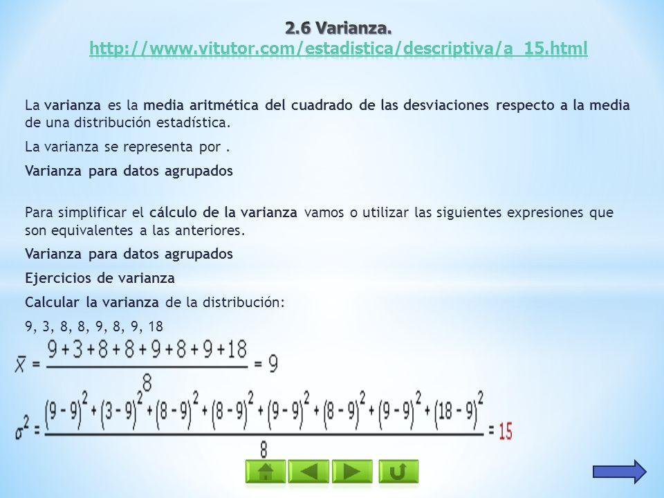 2.6 Varianza. http://www.vitutor.com/estadistica/descriptiva/a_15.html