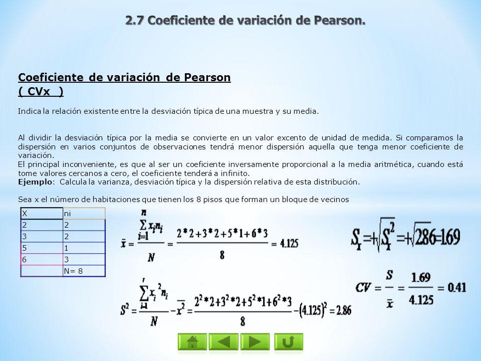 2.7 Coeficiente de variación de Pearson.