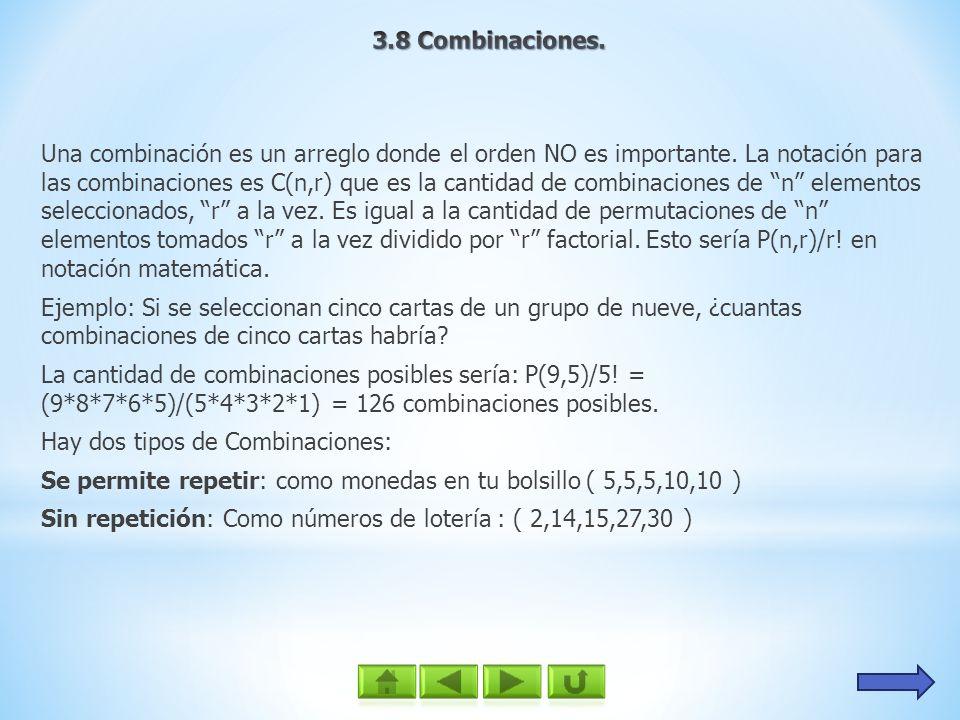 3.8 Combinaciones.