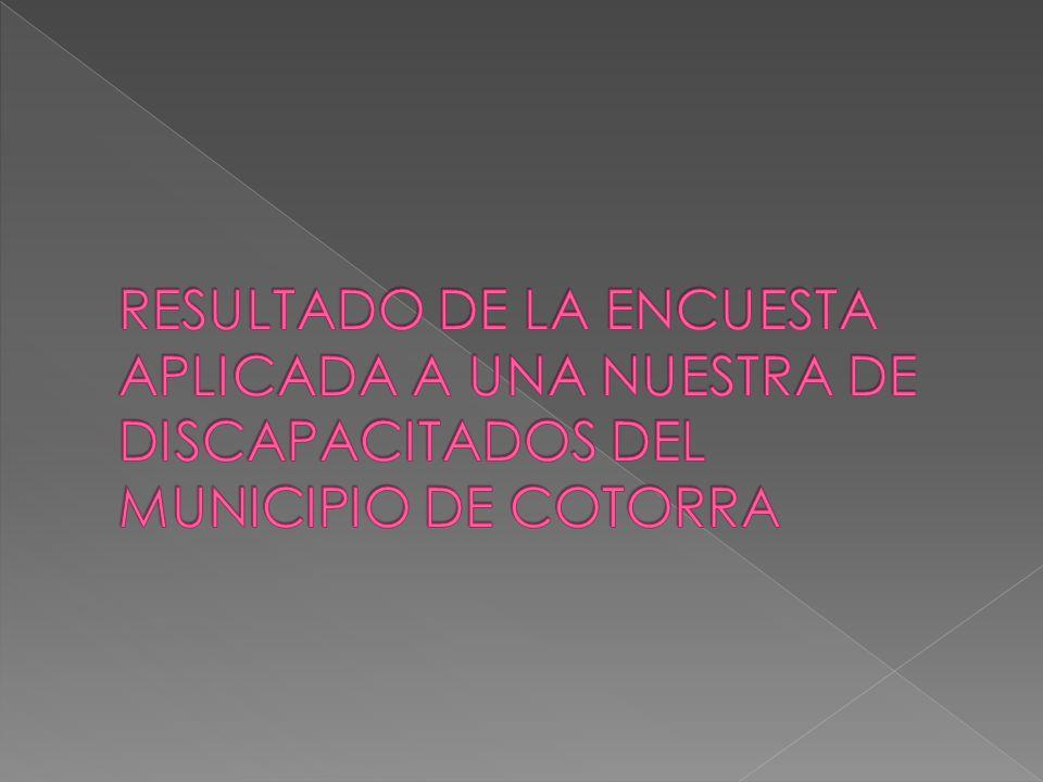 RESULTADO DE LA ENCUESTA APLICADA A UNA NUESTRA DE DISCAPACITADOS DEL MUNICIPIO DE COTORRA