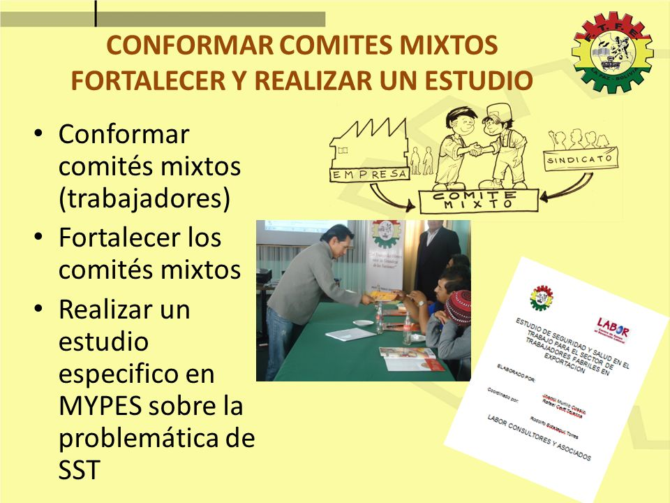 CONFORMAR COMITES MIXTOS FORTALECER Y REALIZAR UN ESTUDIO