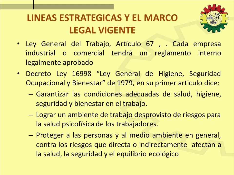 LINEAS ESTRATEGICAS Y EL MARCO LEGAL VIGENTE