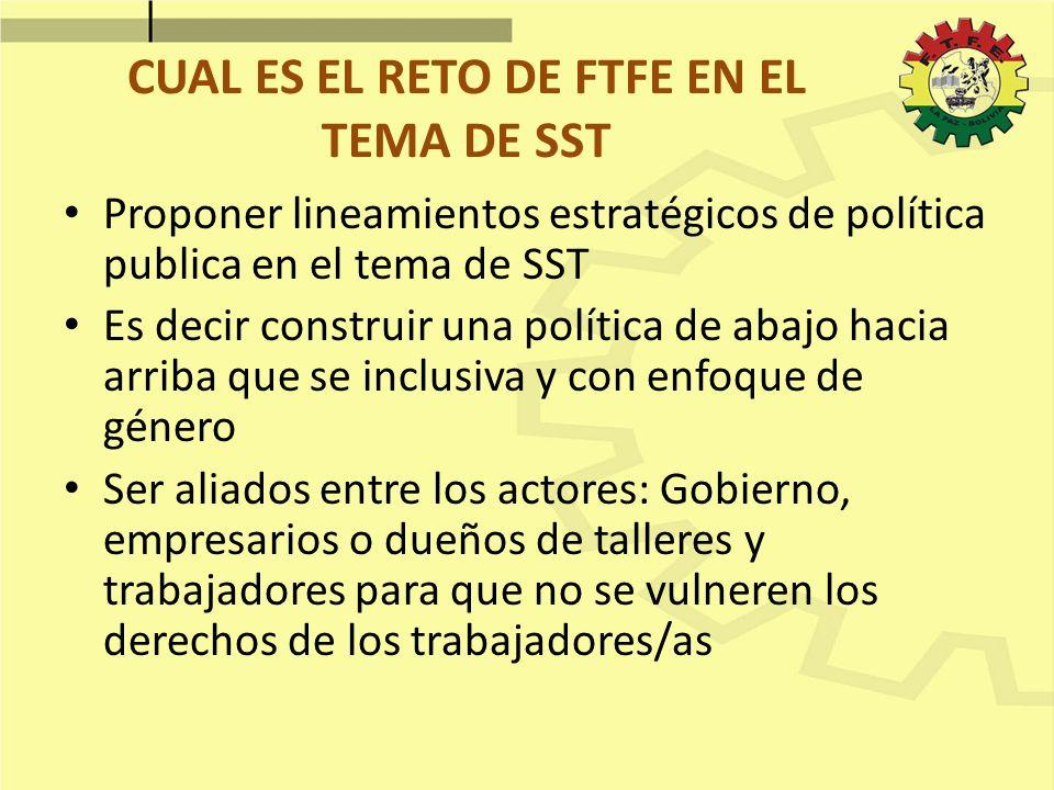 CUAL ES EL RETO DE FTFE EN EL TEMA DE SST