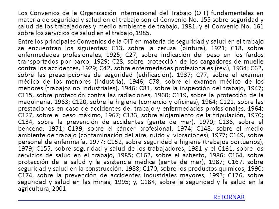 Los Convenios de la Organización Internacional del Trabajo (OIT) fundamentales en materia de seguridad y salud en el trabajo son el Convenio No.