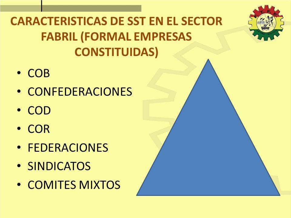CARACTERISTICAS DE SST EN EL SECTOR FABRIL (FORMAL EMPRESAS CONSTITUIDAS)