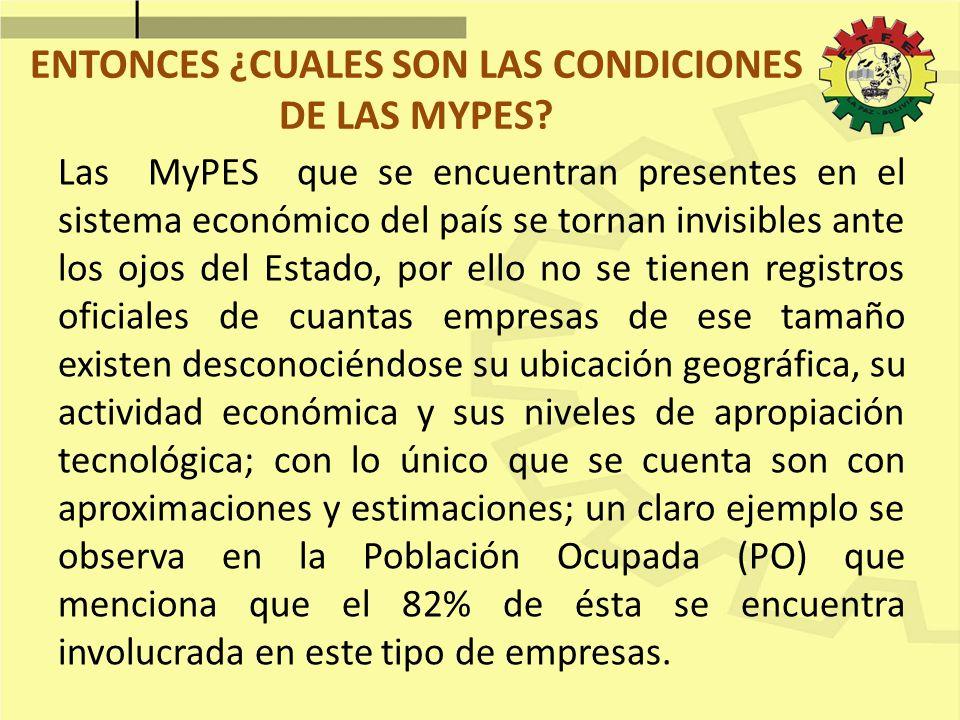 ENTONCES ¿CUALES SON LAS CONDICIONES DE LAS MYPES
