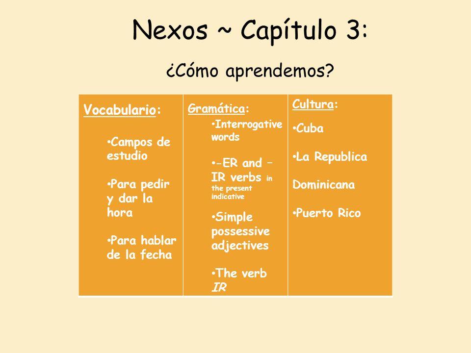 Nexos ~ Capítulo 3: ¿Cómo aprendemos Vocabulario: Campos de estudio
