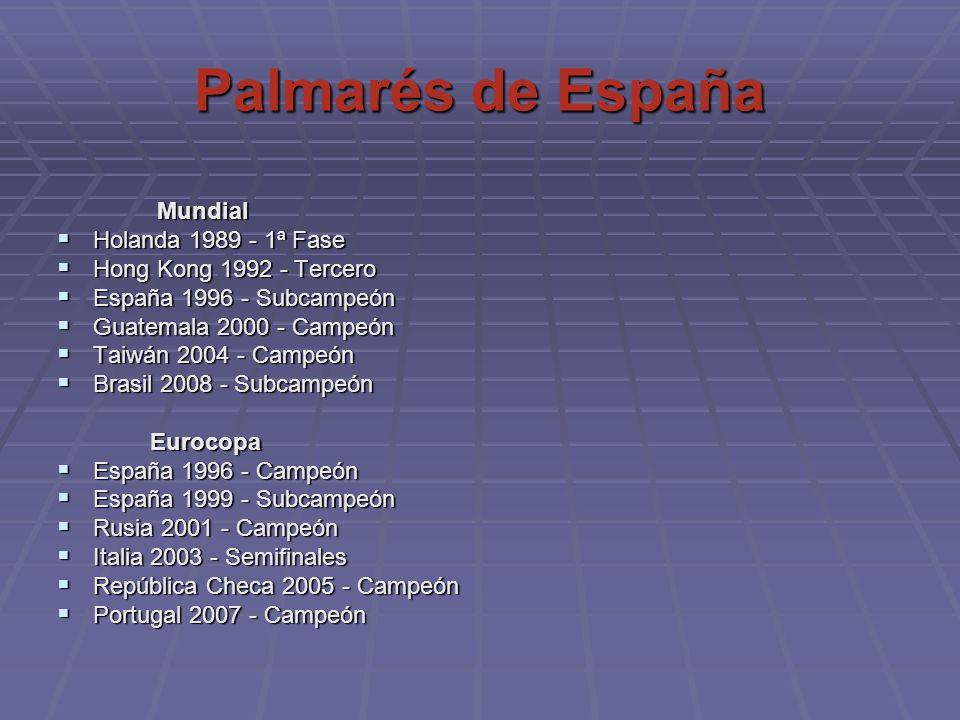 Palmarés de España Mundial Holanda 1989 - 1ª Fase