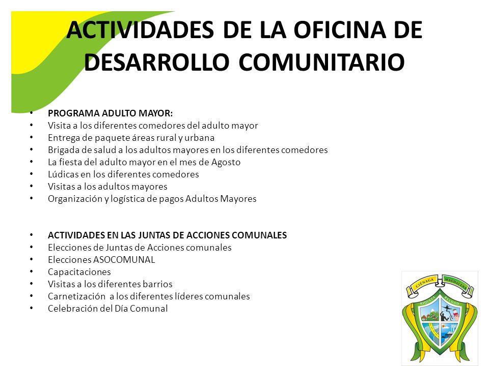 ACTIVIDADES DE LA OFICINA DE DESARROLLO COMUNITARIO