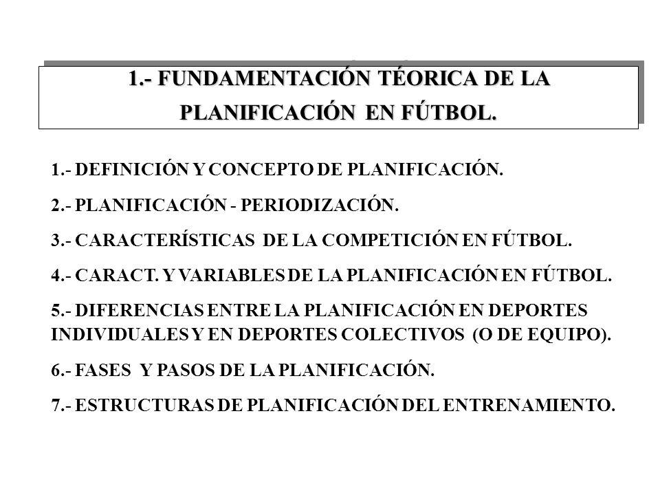 1.- FUNDAMENTACIÓN TÉORICA DE LA PLANIFICACIÓN EN FÚTBOL.