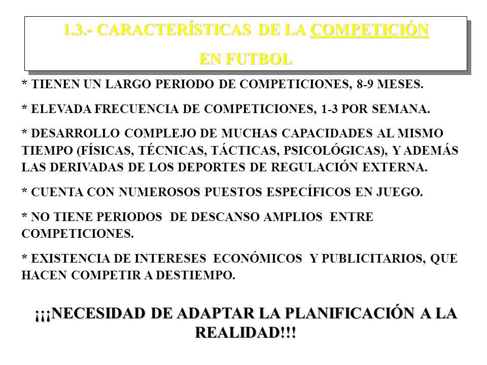 1.3.- CARACTERÍSTICAS DE LA COMPETICIÓN EN FUTBOL