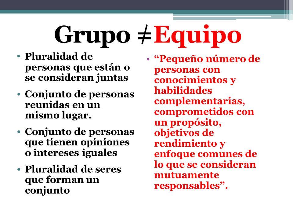 Grupo =Equipo Pluralidad de personas que están o se consideran juntas