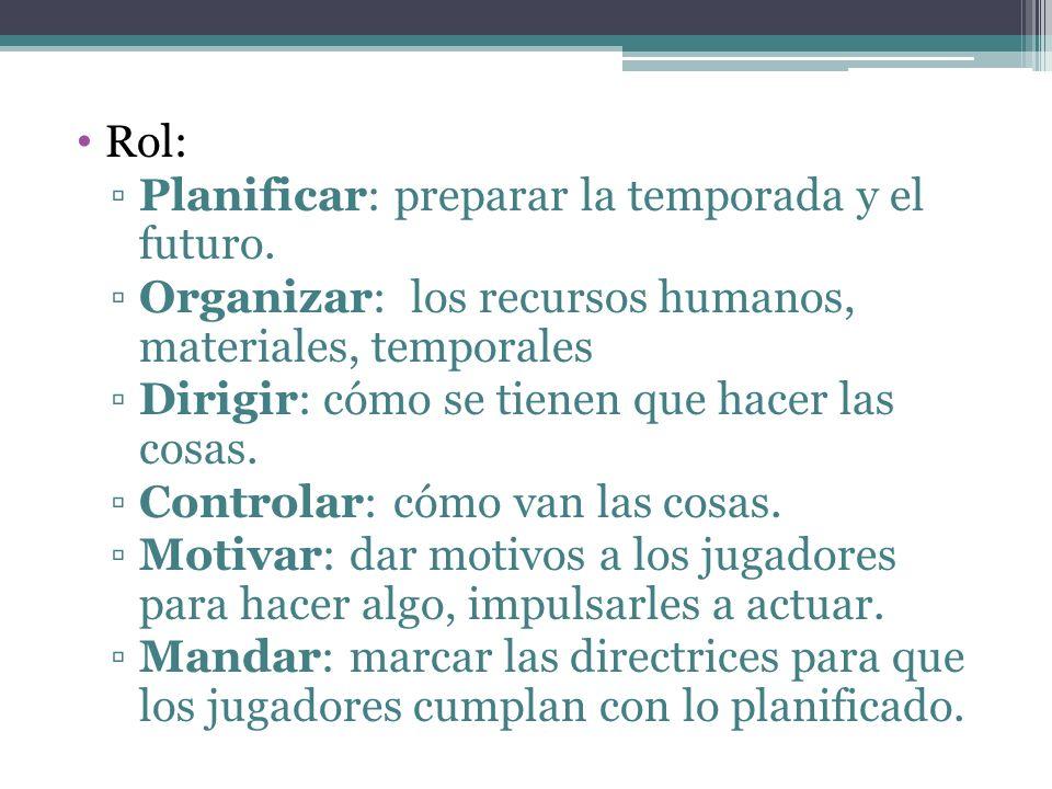 Rol: Planificar: preparar la temporada y el futuro. Organizar: los recursos humanos, materiales, temporales.