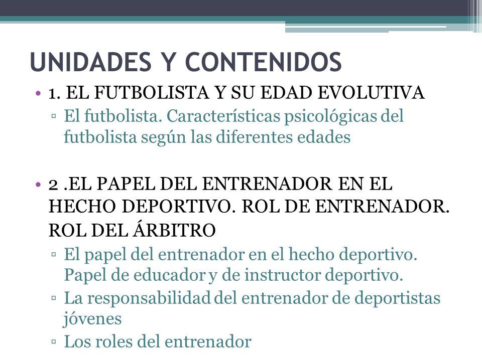 UNIDADES Y CONTENIDOS 1. EL FUTBOLISTA Y SU EDAD EVOLUTIVA