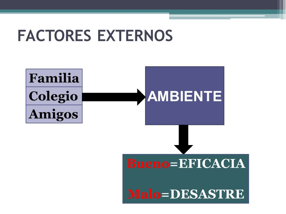 FACTORES EXTERNOS AMBIENTE Familia Colegio Amigos Bueno=EFICACIA