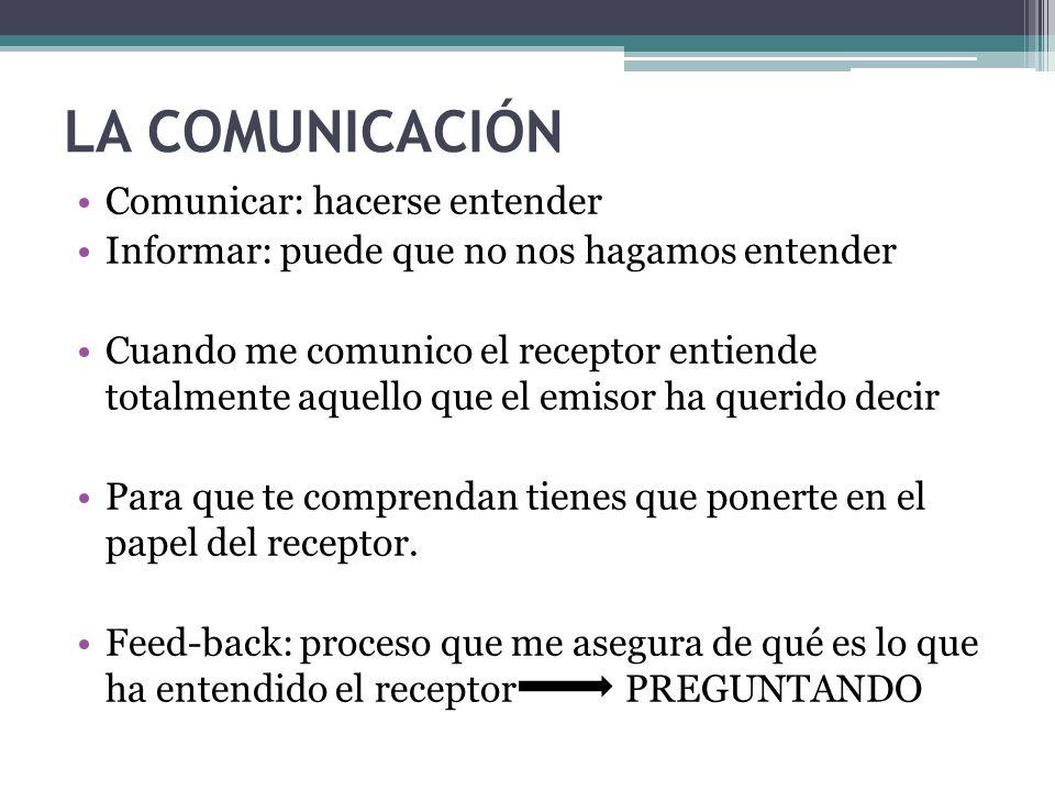 LA COMUNICACIÓN Comunicar: hacerse entender