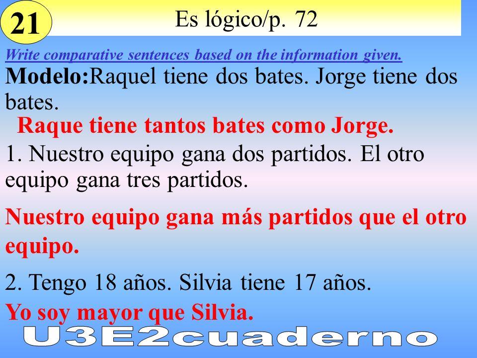 21 Es lógico/p. 72. Write comparative sentences based on the information given. Modelo:Raquel tiene dos bates. Jorge tiene dos bates.