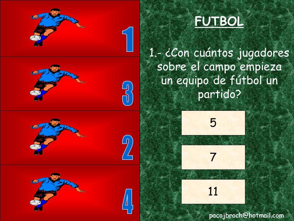FUTBOL 1. 1.- ¿Con cuántos jugadores sobre el campo empieza un equipo de fútbol un partido 3. 5.