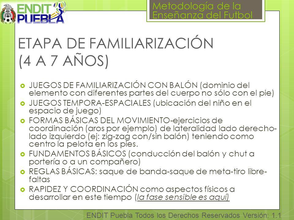ETAPA DE FAMILIARIZACIÓN (4 A 7 AÑOS)