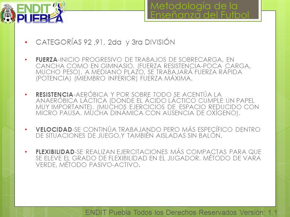 CATEGORÍAS 92 ,91, 2da y 3ra DIVISIÓN