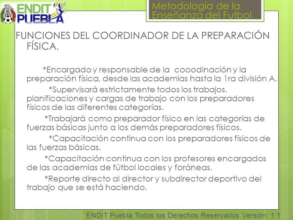FUNCIONES DEL COORDINADOR DE LA PREPARACIÓN FÍSICA.