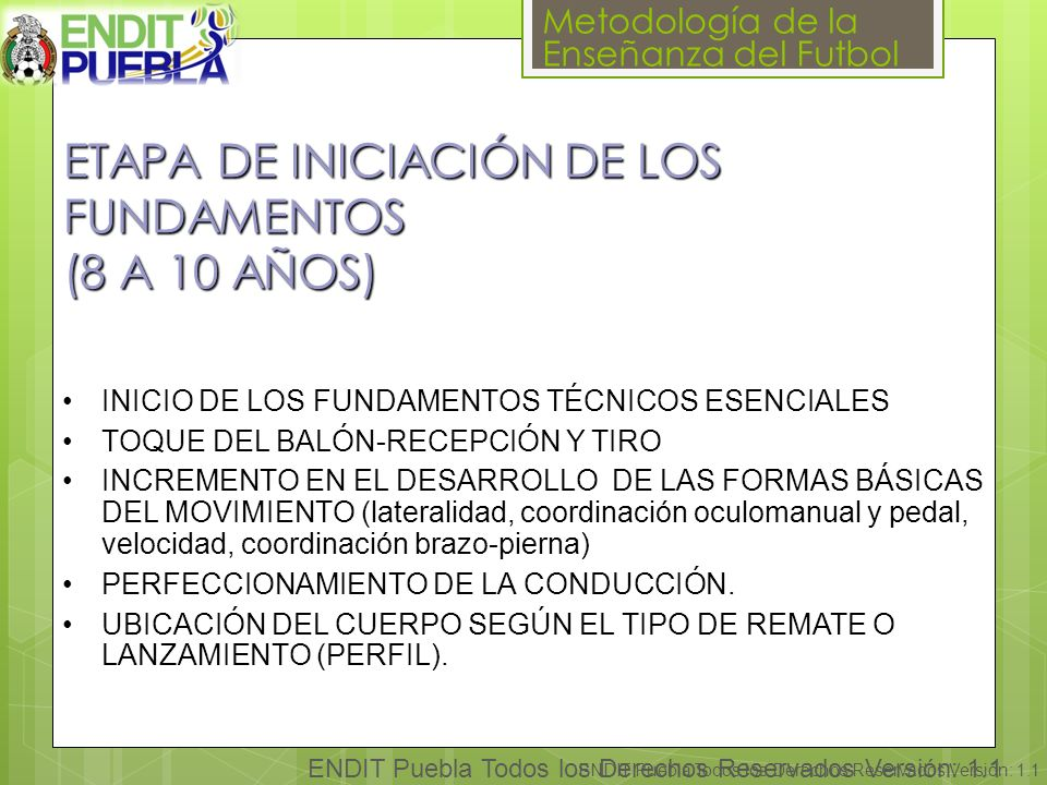 ETAPA DE INICIACIÓN DE LOS FUNDAMENTOS (8 A 10 AÑOS)