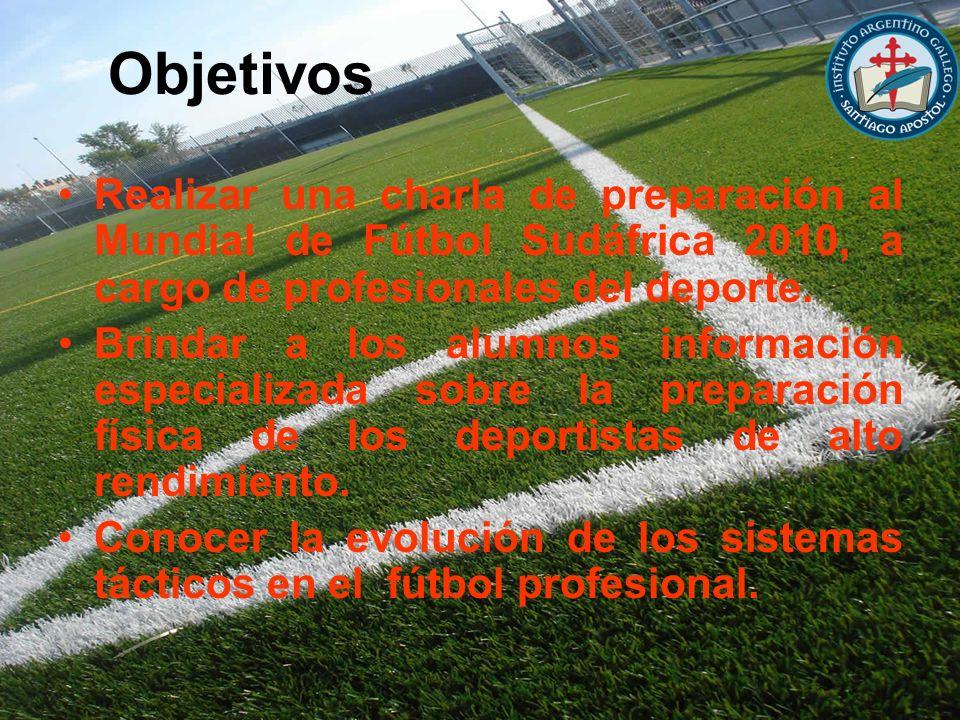 ObjetivosRealizar una charla de preparación al Mundial de Fútbol Sudáfrica 2010, a cargo de profesionales del deporte.