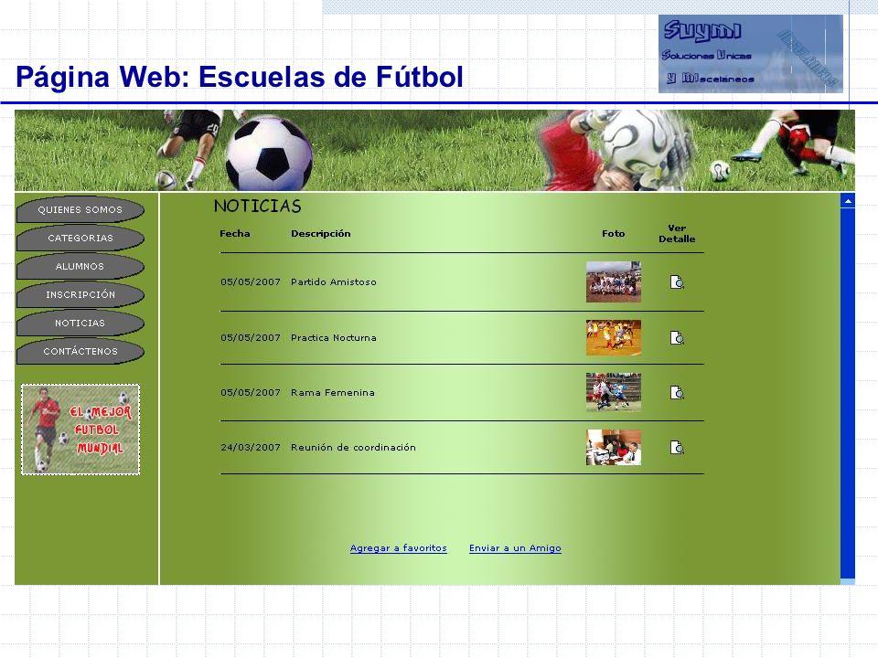 Página Web: Escuelas de Fútbol