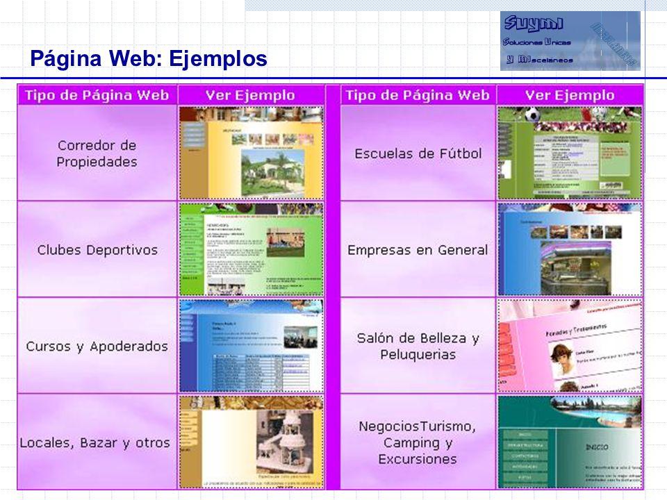 Página Web: Ejemplos Objetivos Beneficios