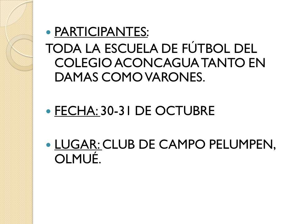 PARTICIPANTES: TODA LA ESCUELA DE FÚTBOL DEL COLEGIO ACONCAGUA TANTO EN DAMAS COMO VARONES. FECHA: 30-31 DE OCTUBRE.