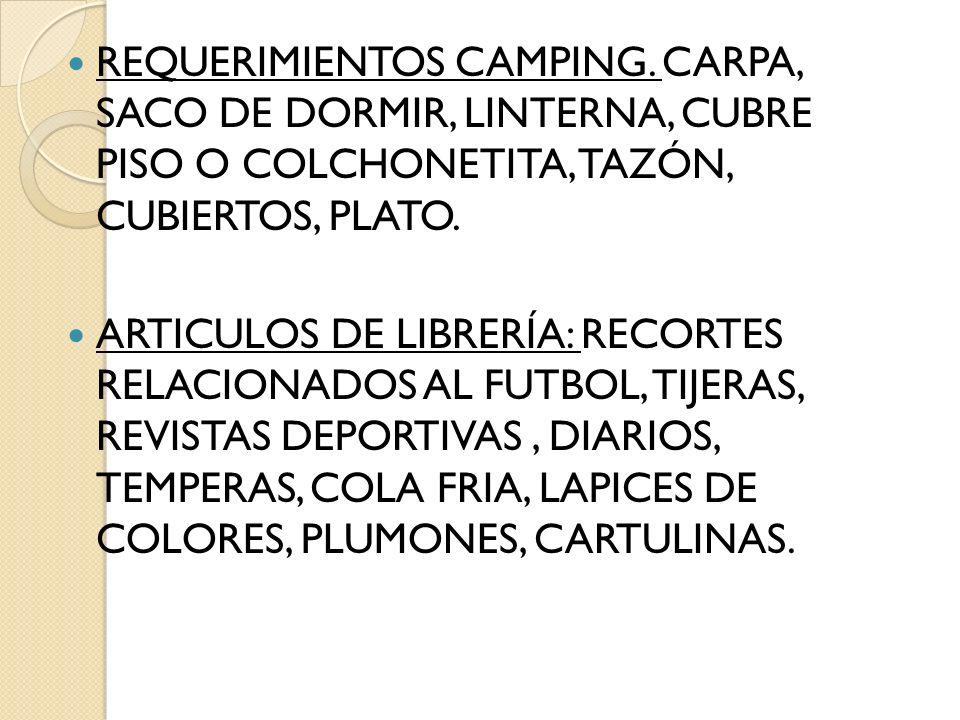 REQUERIMIENTOS CAMPING