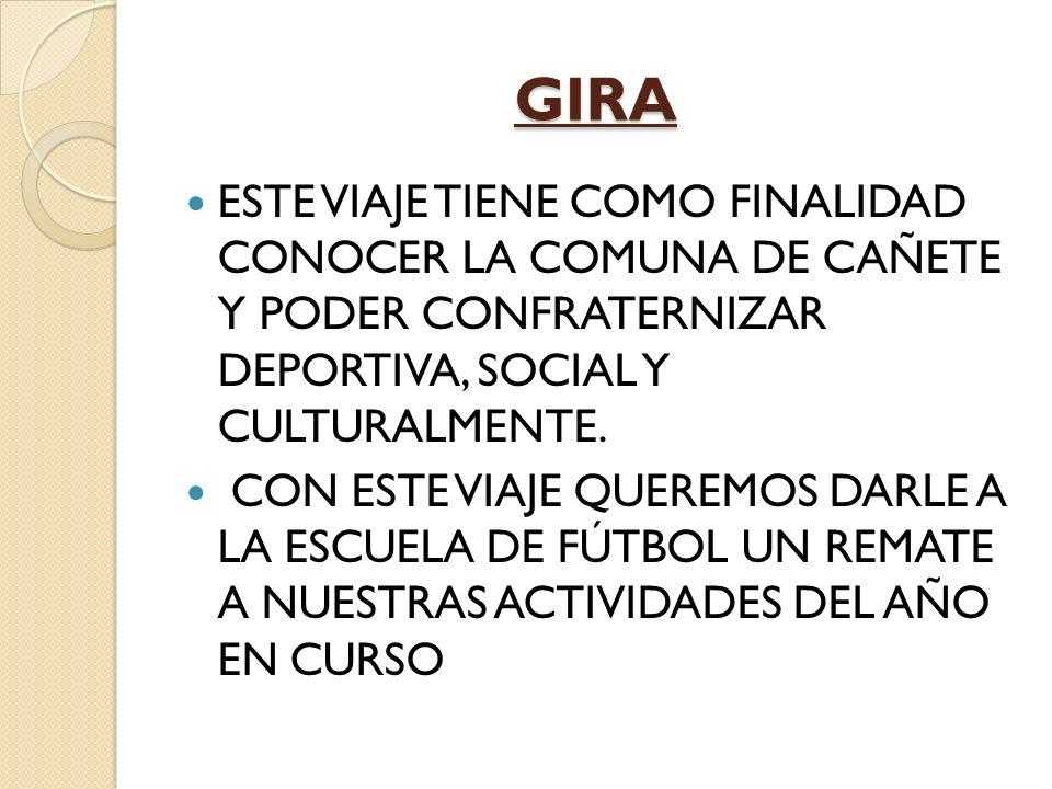 GIRA ESTE VIAJE TIENE COMO FINALIDAD CONOCER LA COMUNA DE CAÑETE Y PODER CONFRATERNIZAR DEPORTIVA, SOCIAL Y CULTURALMENTE.