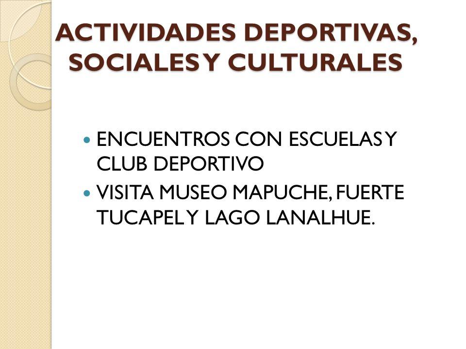 ACTIVIDADES DEPORTIVAS, SOCIALES Y CULTURALES