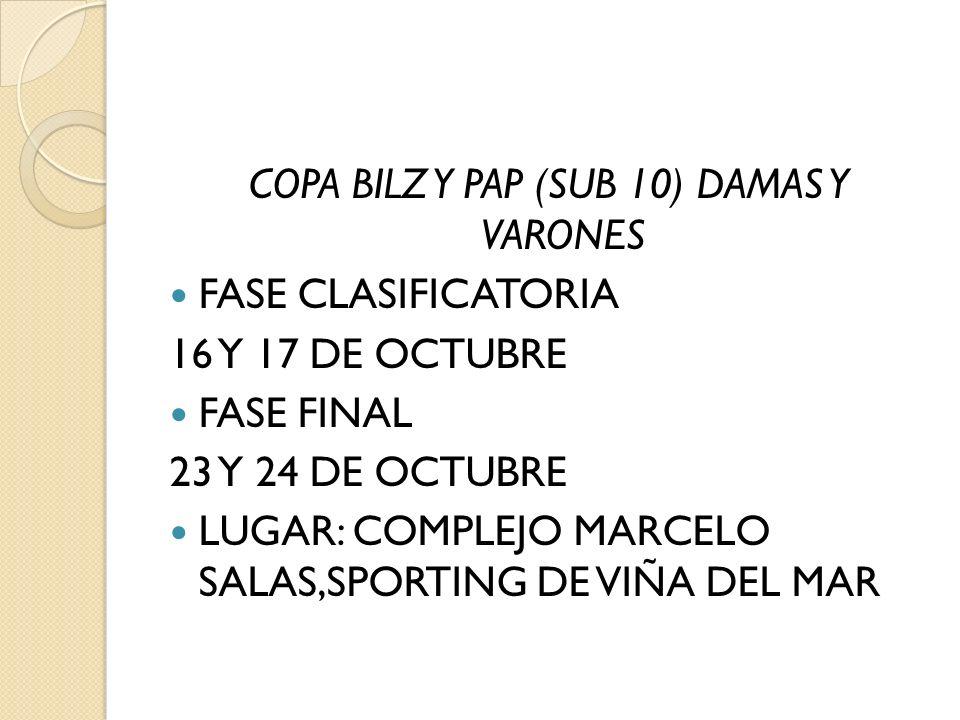 COPA BILZ Y PAP (SUB 10) DAMAS Y VARONES