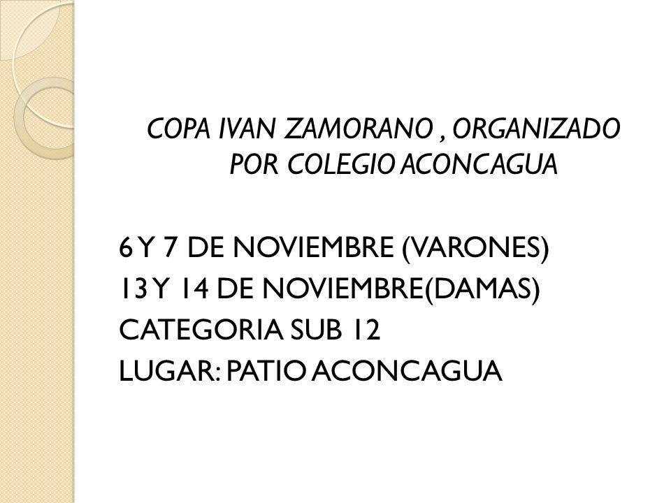 COPA IVAN ZAMORANO , ORGANIZADO POR COLEGIO ACONCAGUA 6 Y 7 DE NOVIEMBRE (VARONES) 13 Y 14 DE NOVIEMBRE(DAMAS) CATEGORIA SUB 12 LUGAR: PATIO ACONCAGUA