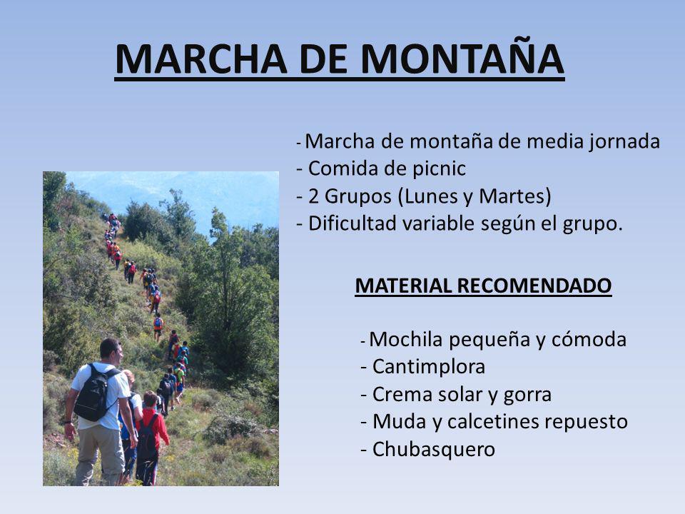 MARCHA DE MONTAÑA Comida de picnic 2 Grupos (Lunes y Martes)