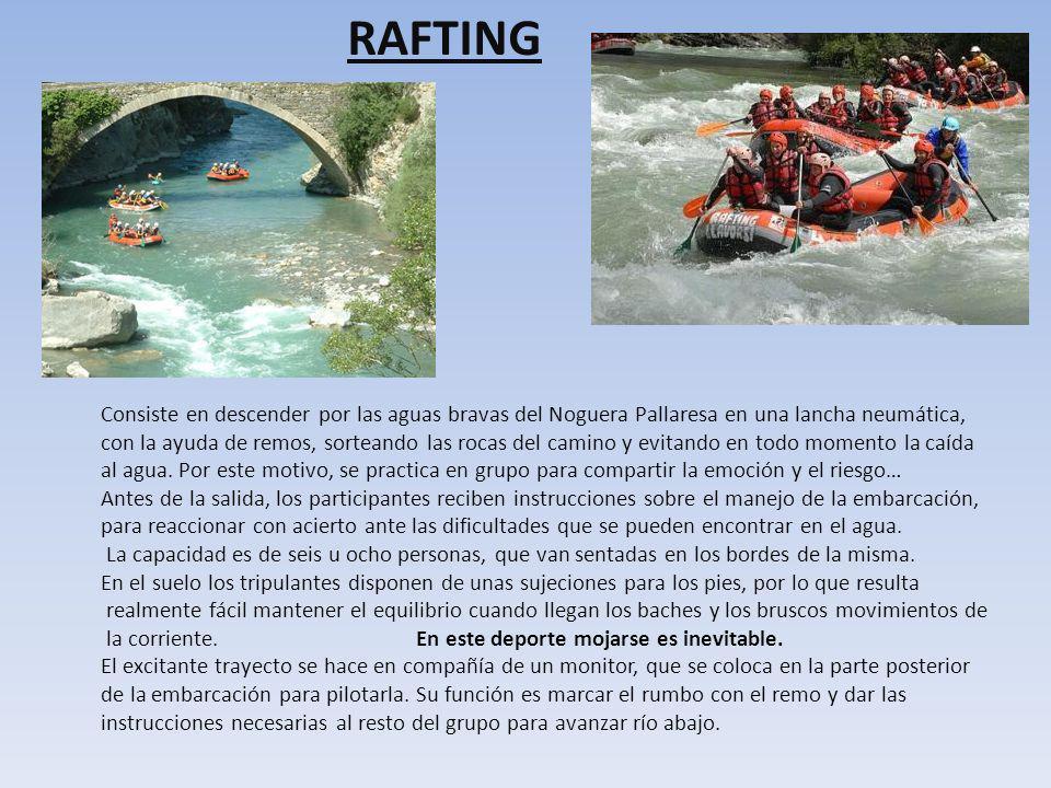 RAFTING Consiste en descender por las aguas bravas del Noguera Pallaresa en una lancha neumática,