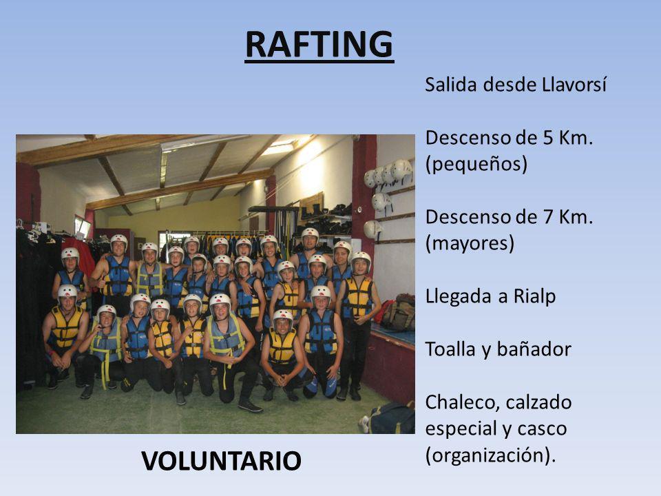 RAFTING VOLUNTARIO Salida desde Llavorsí Descenso de 5 Km. (pequeños)