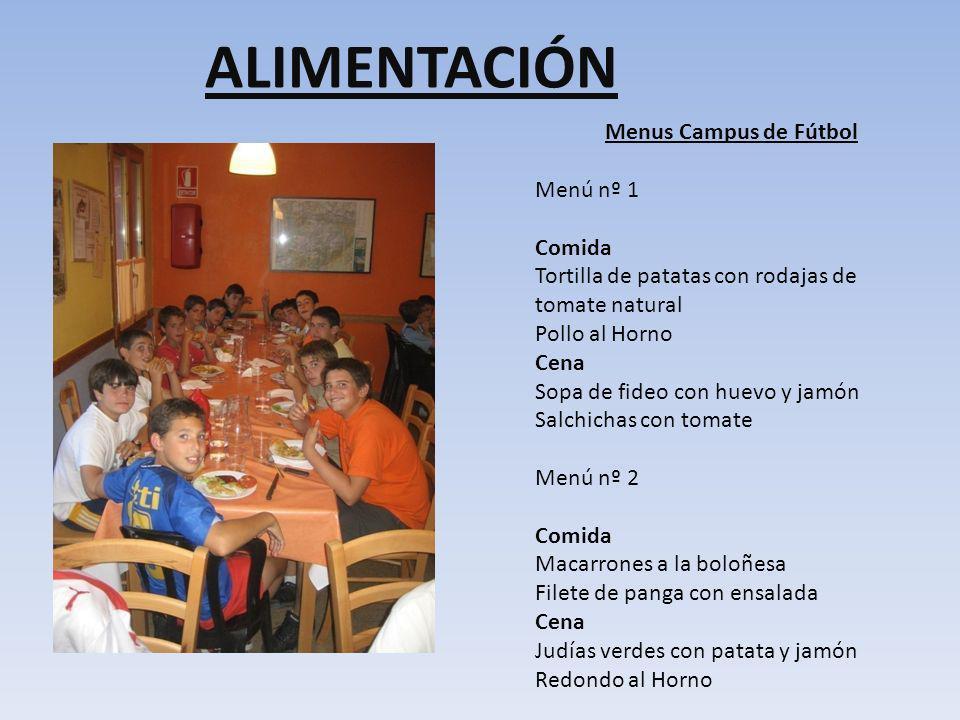 ALIMENTACIÓN Menus Campus de Fútbol Menú nº 1 Comida