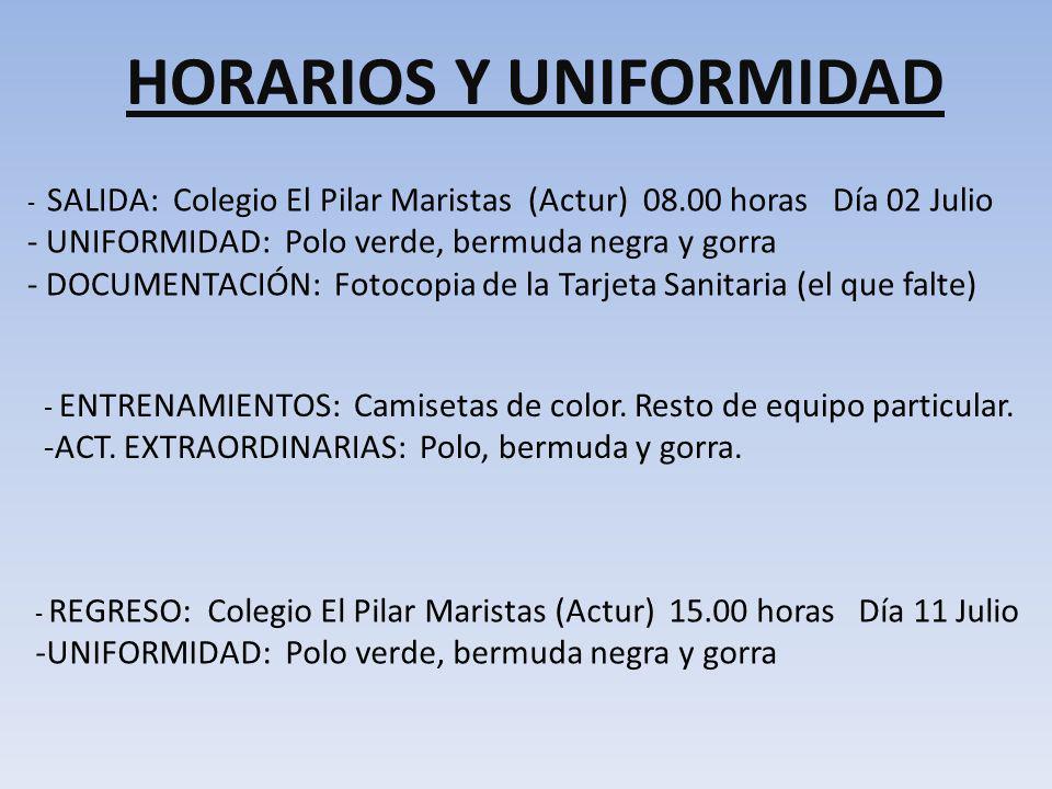 HORARIOS Y UNIFORMIDAD
