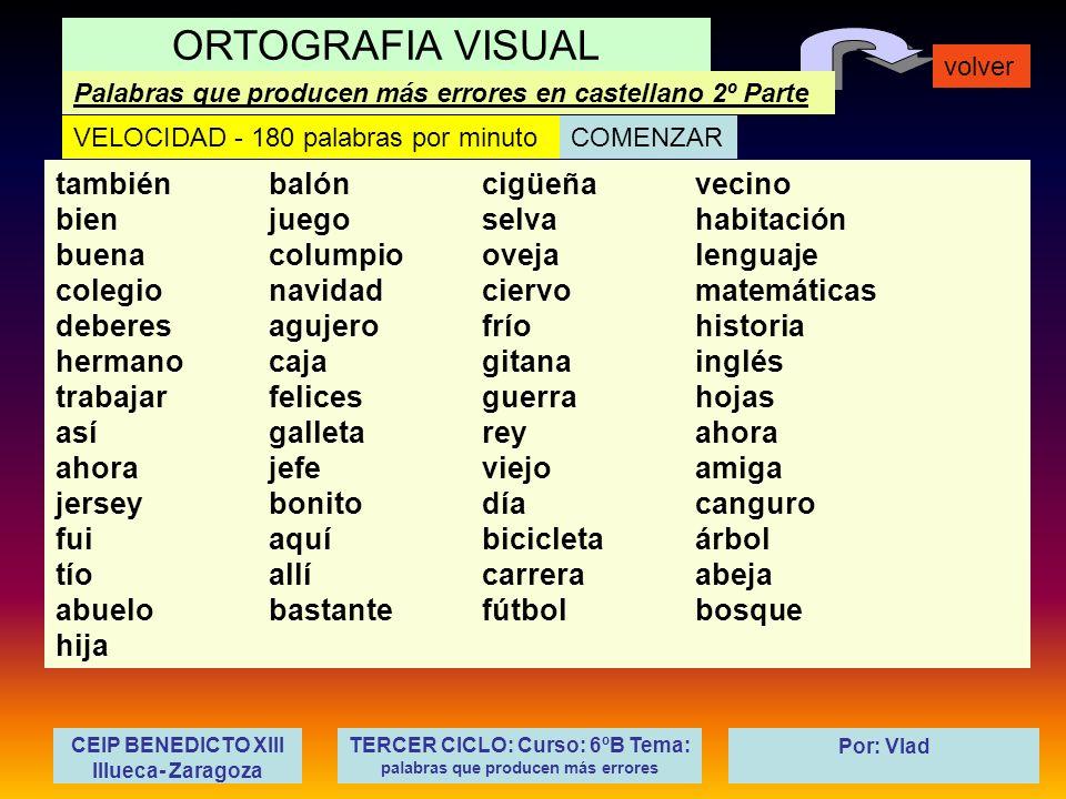 TERCER CICLO: Curso: 6ºB Tema: palabras que producen más errores