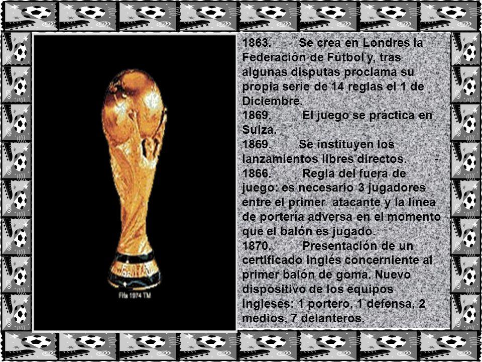 1863. Se crea en Londres la Federación de Fútbol y, tras algunas disputas proclama su propia serie de 14 reglas el 1 de Diciembre.
