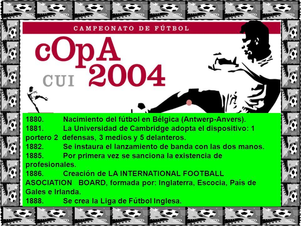 1880. Nacimiento del fútbol en Bélgica (Antwerp-Anvers).
